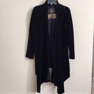 Adrienne vittadini navy blue velvet cardigan